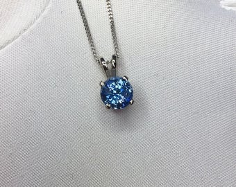 NATURAL 1.27ct Vivid Blue Ceylon Sapphire Pendant 18k White Gold Round Diamond C