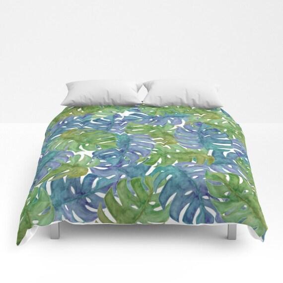 Tropical Duvet Cover Full Queen King Watercolor Duvet Leaf