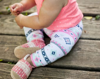 Mint and Coral Aztec Leggings for Baby, Toddler & Girls