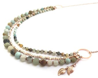 Amazonite and rose gold necklace
