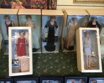 7 Princess Diana Porcelain Doll collection W/COA