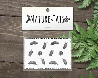 Roly Poly Temporary Tattoos, Collection of 12, Pill Bugs, Life Size Bug Tattoo, Insect Tattoo, Nature Tattoo