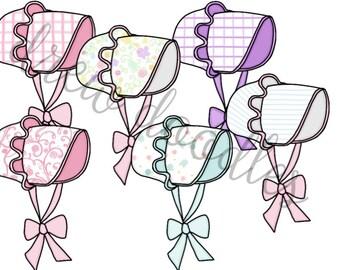 Bonnets Digital Clip Art Set- Instant Download