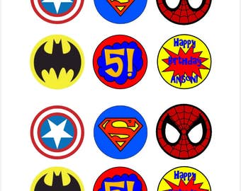 Edible Customizable Superhero Cupcake Cookie Toppers