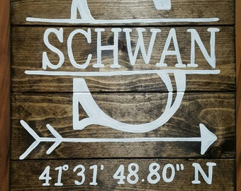 Last Name with map coordinates Wood Sign