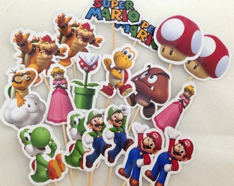 Super Mario Cupcake Toppers Topper with stick Set of 18 Custom Made
