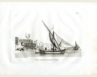 Napoleonic Maritime Ship Print - Printed 1814 - J.J. Baugean  Merchant & Military Ships - Maritime Engraving - Ship for Coastal Shipping