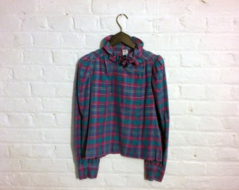 Vintage 1980s Plaid Tartan Ruffle Shirt Blouse Top - Pink Blue Green Lurex - EU 38 UK 10 US 8