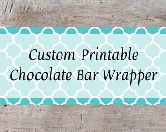 Custom Candy Bar Wrapper, Chocolate Nugget Wrapper, Chocolate Bar Wrapper, Wedding Favor, Baby Shower Chocolate Bar Favor