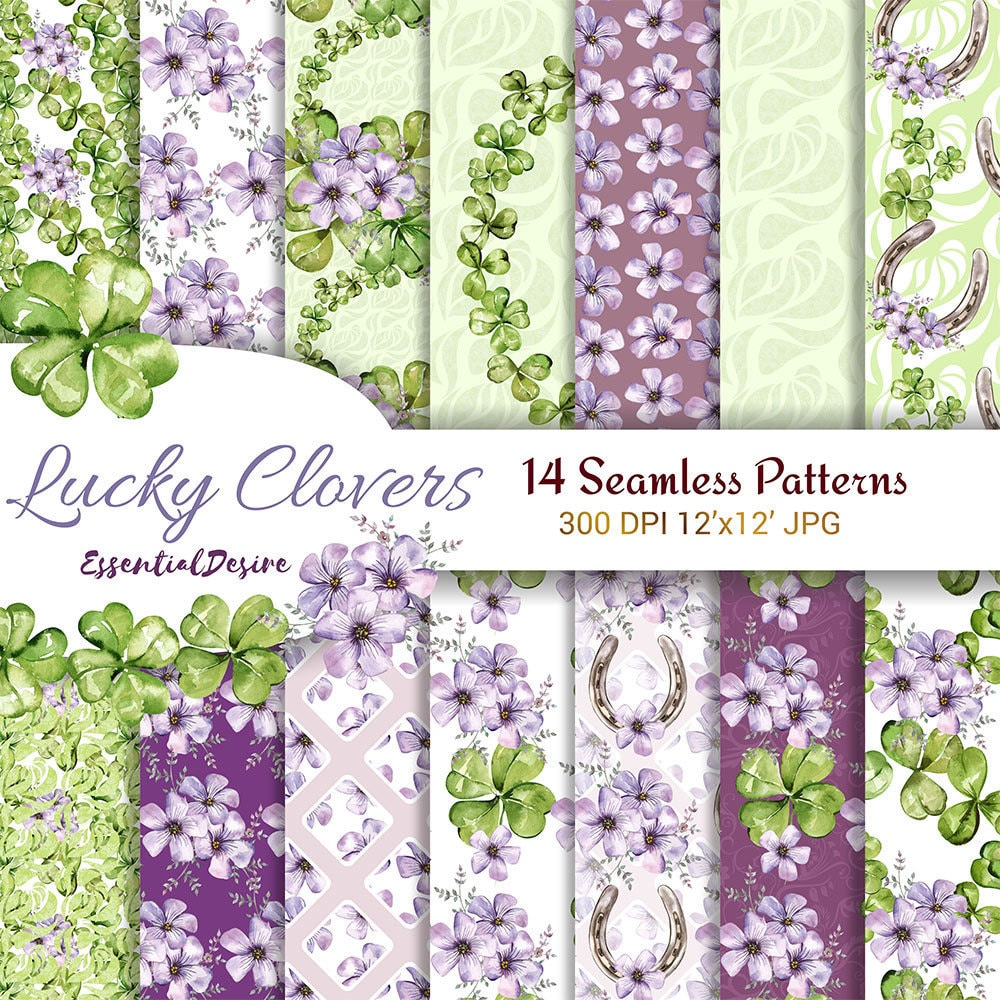 st patricks day designer paper seamless patterns four leaf