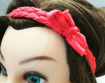 Braided Headband - Pink T-Shirt Yarn - Five Strand Braided Headband
