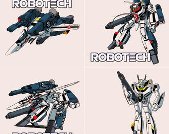 Robotech Stone Coaster Set, Handmade, Classic, Decal, Geek Decor Gift, Macross, VF-1 Valkyrie Veritech Fighter, Skull Squadron, Anime Comics