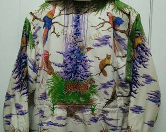 Rare Vintage KENSHO ABE SPORTS Nature Flora And Fauna Full Printed Zipped Jacket Size L Large Made in Japan