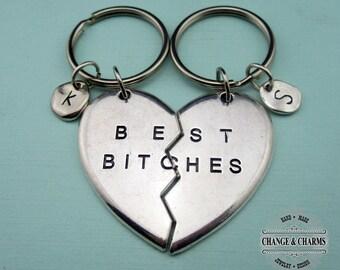 Best Bitches Keychain Set, Friend Gift, Friend Keychain, Best Friend Keychain,Custom Friend Keychain,Personalized Gift,Heart Keychain,SC3365