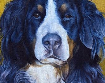 Shepard Mix Dog Art Print of Original Oil Painting - Decorative Artwork