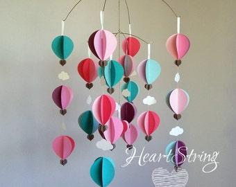 baby mobile hot air balloon mobile pink, turquoise aqua nursery kids room girl - Berries