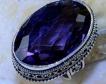 1 Ring dome big Amethyst style stone and silver 925