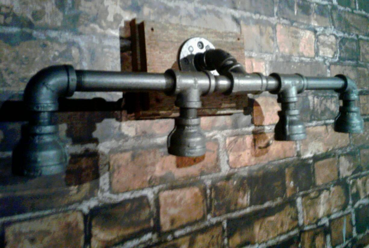 industrial pipe vanity light customize your light fixture. Black Bedroom Furniture Sets. Home Design Ideas