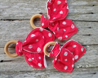 Organic Bunny Ear Teether - Single in ADORABLE strawberry print