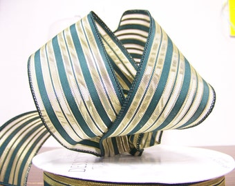 2 1/2 inch Wired Green and Gold Striped Craft Ribbon( by the yard)