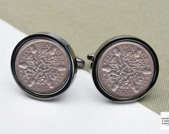 85th birthday 1932 lucky sixpence coin cufflinks gunmetal