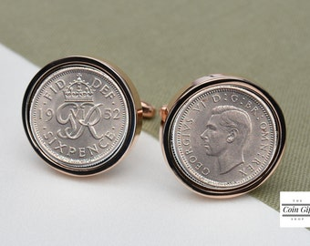 1952  Lucky Sixpence Coin Cufflinks - 65th birthday gift - rose gold