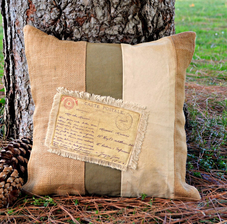 Decorative Pillows Rustic : Rustic pillow Decorative pillow 18x18 Burlap Canvas