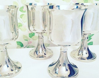 Four Silver Plated Edwardian English Goblets, Vintage Silver Plated Cups, Fine Dining, Christmas or Dinner Party Goblets.
