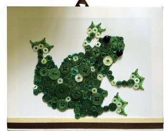Wall Decor Button-Art Frog