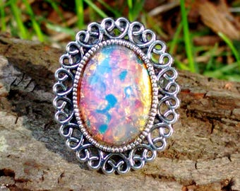 Pink Fire Opal Ring, Adjustable Ring, Fire Opal Ring, Rainbow Ring, Mexican Fire Opal, Dragon's Breath Ring, Gypsy Ring, Bohemian Ring