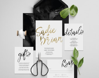 "Gold Foil Invitation Printable Wedding Invitation Suite ""Inka Foil"" - Printable DIY Invite, Affordable Wedding Invitation"