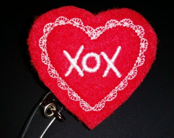Valentine Retractable ID Badge Holder - Hugs and Kisses ID Name Badge Holder - St Valentine Day ID Badge - Interchangeable Name Badge Holder