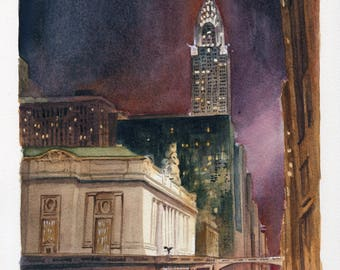 7x9 Original Watercolor Painting - Grand Central and Chrysler Building II