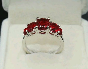 Five Stone Genuine Ruby Ring