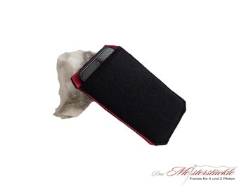 Smartphone personalized cover felt red & Black - on request