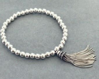 Sterling Silver Stackable Tassel Bracelet