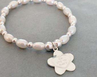 Sterling Silver & Freshwater Pearl Mother's Day Flower Charm Bracelet