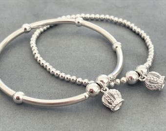 Sterling Silver Princess Queen Crown Charm Bracelet