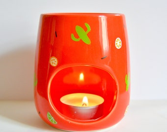 Mexican Style Oil Burner - Candle Holder- Kitchen Fragrance - Day of the Dead - Mexico - Red - Chili - Cactus - Lemon - Lime - Odour Buster
