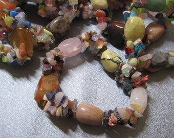 Mixed Stone Beads Stretch Bracelet 1pc