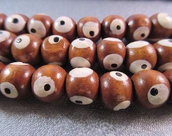 Chocolate Painted Wood Evil Eye Beads 46pcs