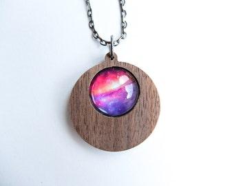 Universe Space Nebula Wooden Round Drop Pendant Necklace
