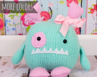 Stuffed Monster, Monster Plush, Kids Toy, Knit Stuffed Animal, Cute Monster Doll, Baby Gift, Custom Made Toy, Baby Soft Toys,
