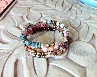 Silver butterflies and gemstone cuff bracelet