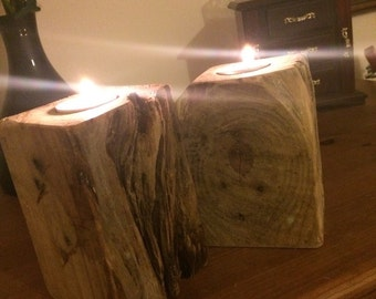 Pair of pallet block tea lights