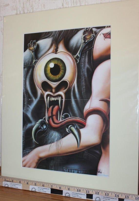 David Mann ''One-Eyed Beast'' 16'' x 20'' Matted Motorcycle Biker Art #8205ezrxmc