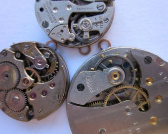 4 Pendants, Vintage Watch Bodies with Visible Gears and Moving Parts, Mixed Lot Shapes and Sizes