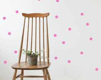 Wall Stickers Polka Dots Vinyl Pink Kids Room Pattern Decal Dots Sticker Wall Decals Matte Vinyl Set of 72