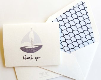 Sailboat Thank You Card Foldover - Ocean Themed Thank You Fold Over - Set of Ten A2 Cards - Navy and Light Blue Sailboat