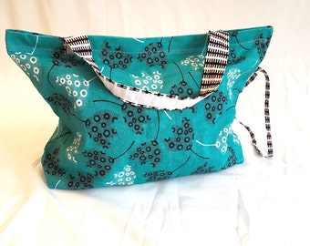 Large turquoise tote bag